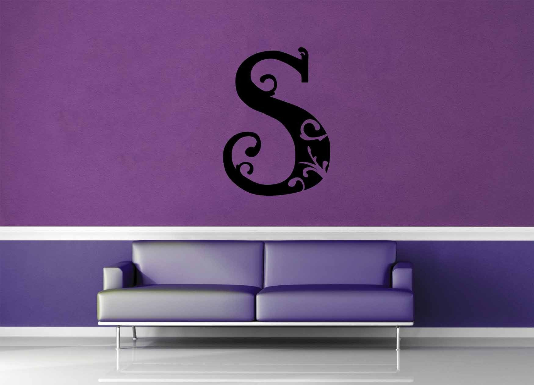Floral Monogram - S - Wall Decal