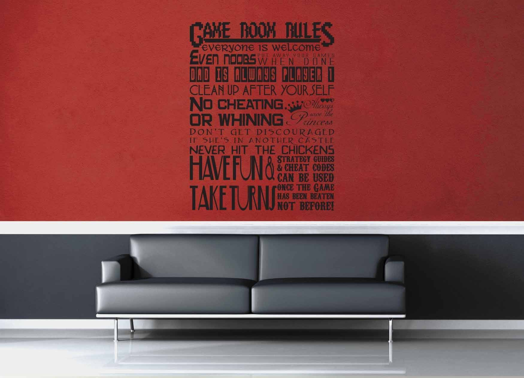 Game Room Rules - Gamer Décor - Wall Decal