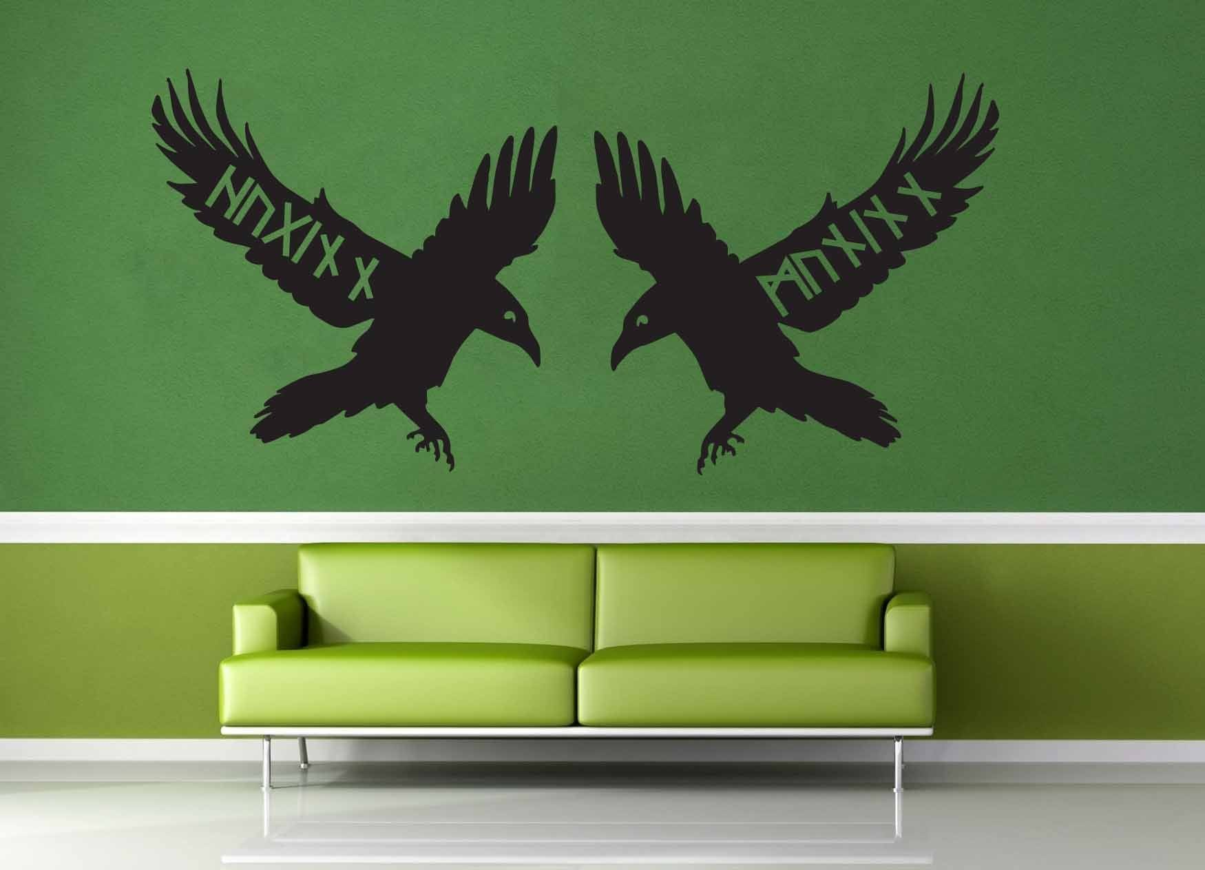 Huginn and Muninn Runes - Norse Mythology - Wall Decal - geekerymade