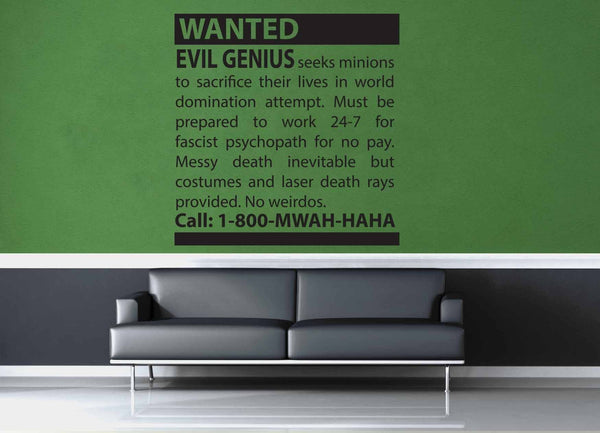 Minions Wanted - Wall Decal - geekerymade