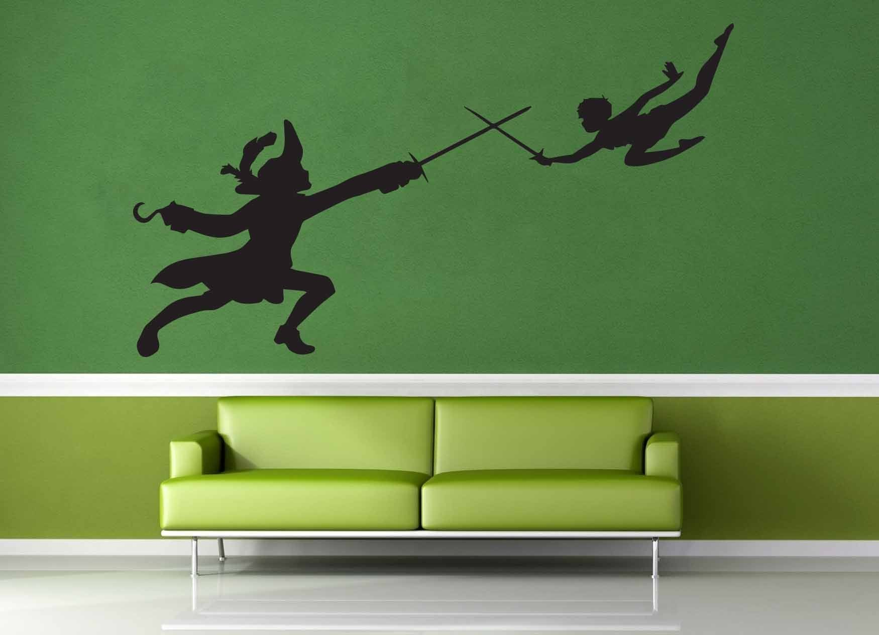 Peter Pan and Captain Hook Silhouette - Wall Decal