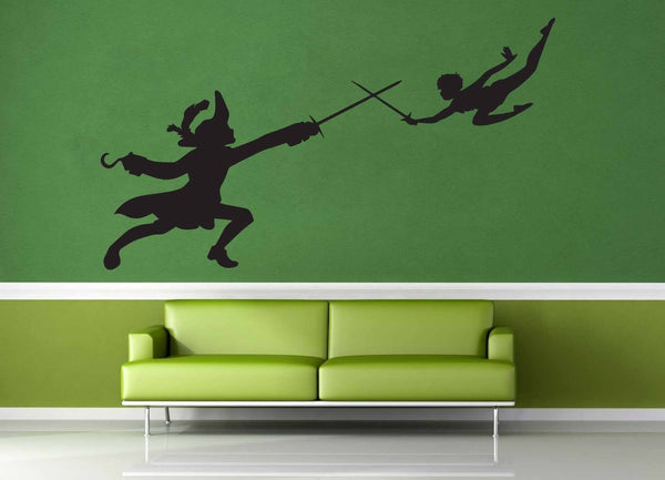Peter Pan and Captain Hook Silhouette - Wall Decal - geekerymade