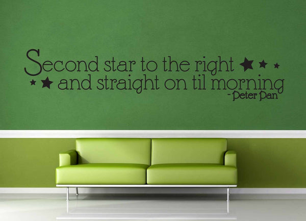 Second Star to the Right - Peter Pan Quote - Wall Decal - geekerymade