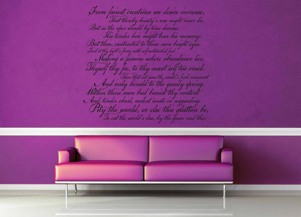 Shakespeare Sonnet No 1 - Wall Decal - geekerymade