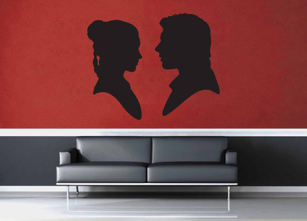 Leia and Han Solo Silhouette Set - Star Wars - Wall Decal