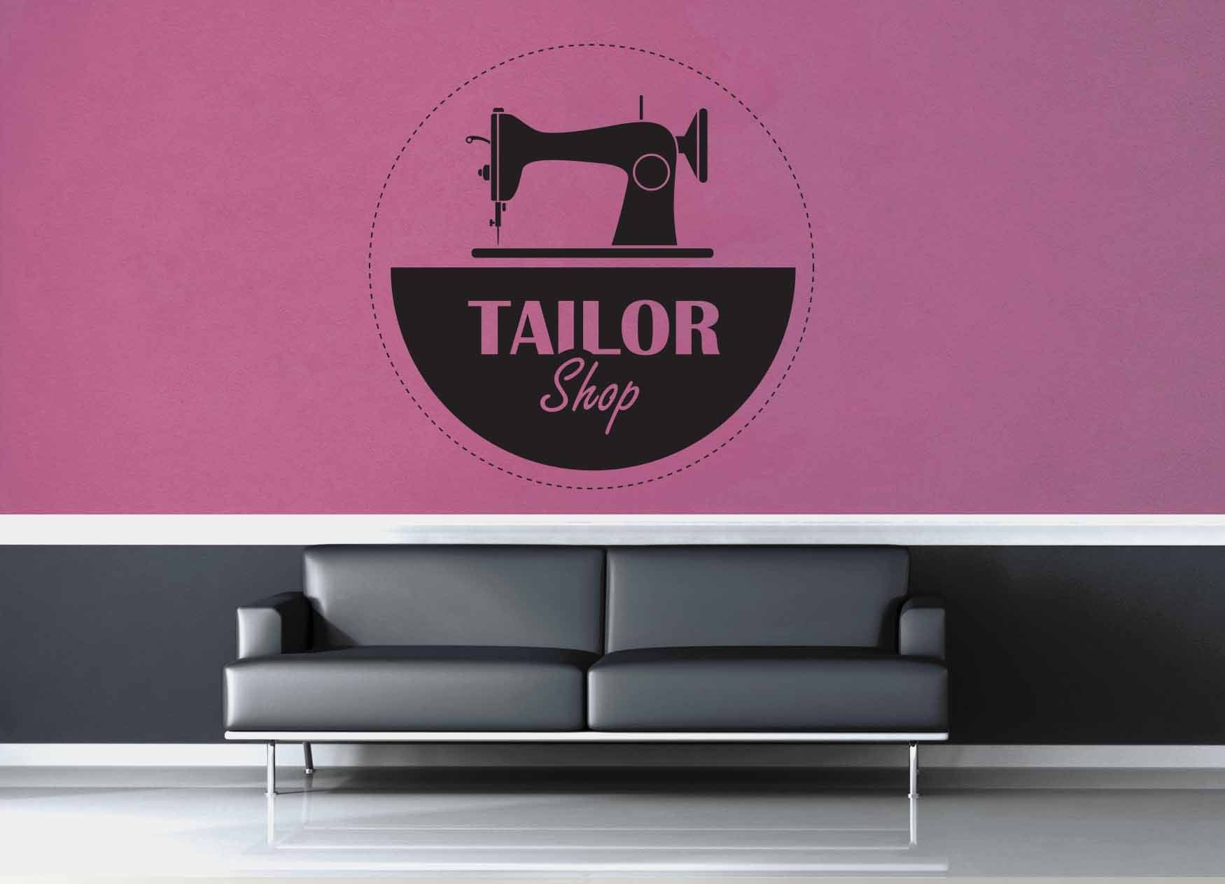 Sewing Machine Tailor Shop Sign - Wall Decal