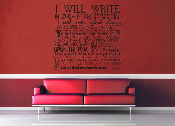Words of Fire - Neil Gaiman Quote - Wall Decal - geekerymade