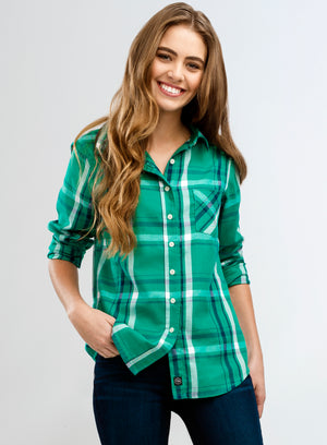 WOMEN'S SAWYER SHIRT - GREEN & NAVY PLAID