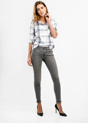 WOMEN'S SAWYER SHIRT - WHITE & DARK SLATE PLAID