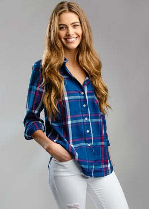 WOMEN'S SAWYER SHIRT - NAVY & RASPBERRY PLAID