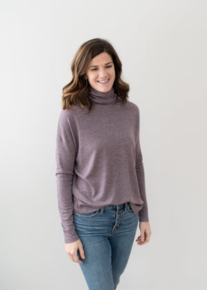 Cori Turtleneck - Heather Eggplant