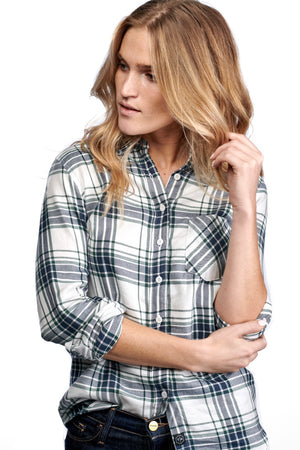 WOMEN'S SAWYER SHIRT - NAVY & PINE PLAID