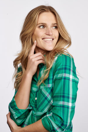 Sawyer Shirt - Green & Navy Plaid
