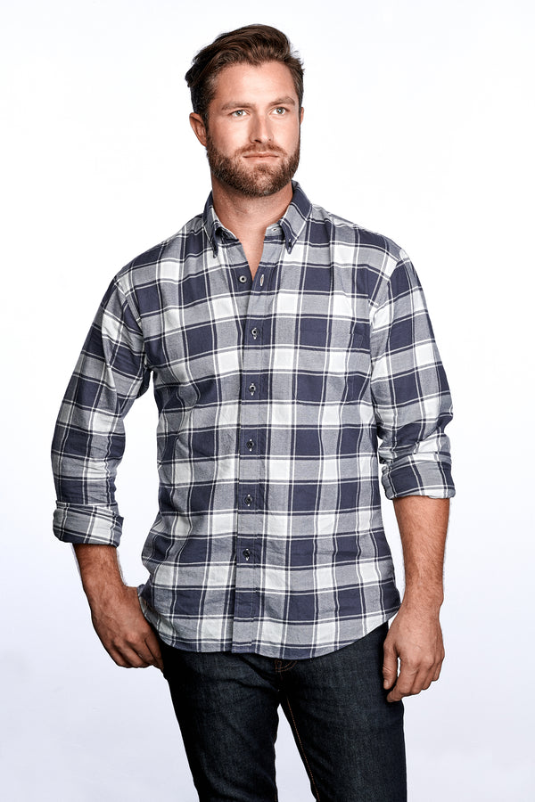AXEL SHIRT - DARK BLUE & GRAY PLAID