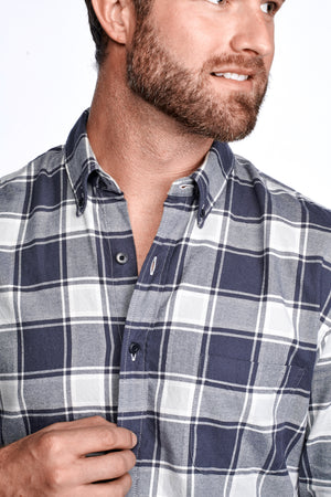 Axel Shirt - Dark Blue & Grey Plaid