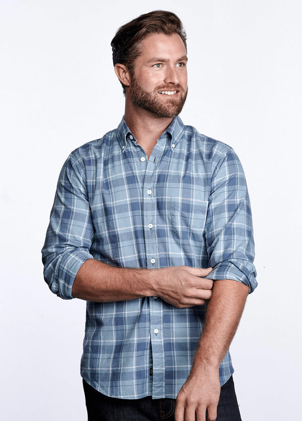 MEN'S AXEL SHIRT - SMOKE & SLATE BLUE PLAID