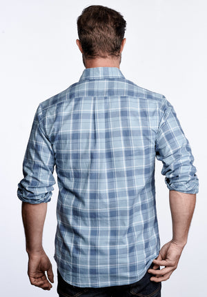 Axel Shirt - Smoke & Slate Blue Plaid