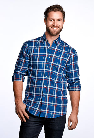 MEN'S AXEL SHIRT - SAILOR BLUE & RED PLAID