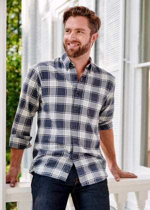 MEN'S AXEL SHIRT - DARK BLUE & GRAY PLAID