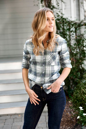 SAWYER SHIRT - NAVY & PINE PLAID