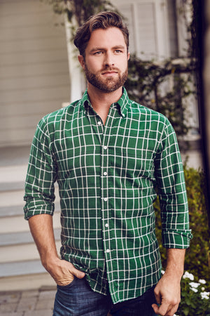 MEN'S AXEL SHIRT - DARK GREEN & FOG PLAID