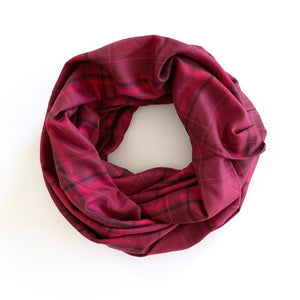 PLAID INFINITY SCARF - CRANBERRY