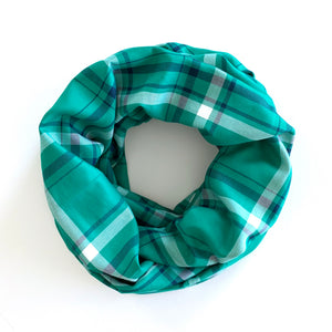 PLAID INFINITY SCARF - GREEN & NAVY