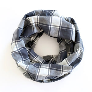 Plaid Infinity Scarf - Dark Blue & Grey
