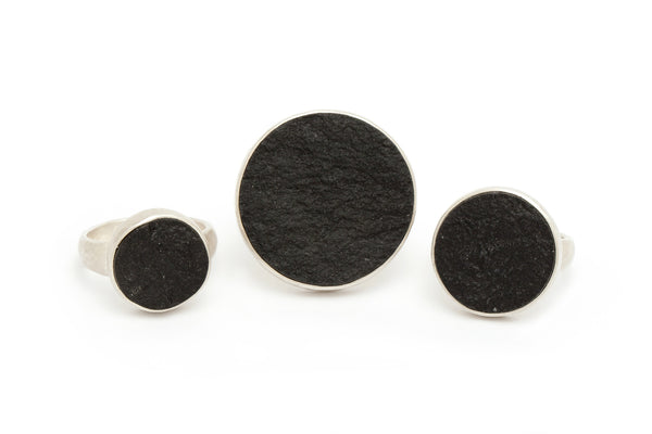 Rough Top Black Jade Rings