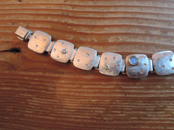 Moonstones and Comet Link Bracelet