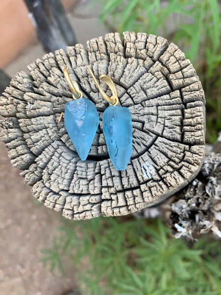 Natural Crystal Aquamarine Earrings