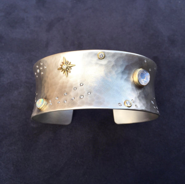 The Opal and Carved Moonstone Sky Cuff