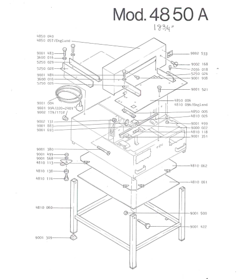 CUTTER 4850A AUTO CLAMP PARTS MANUAL (PDF)