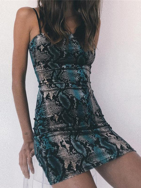 Green Snakeskin Spaghetti Strap Mini Dress