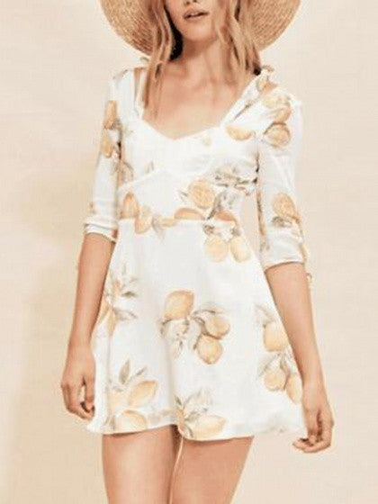 Polychrome V-neck Lemon Print Bow Sleeve Mini Dress