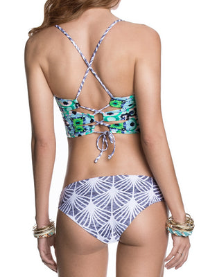 Multicolor Pineapple Print Zip Up Front Tie Back Bikini Top And Bottom
