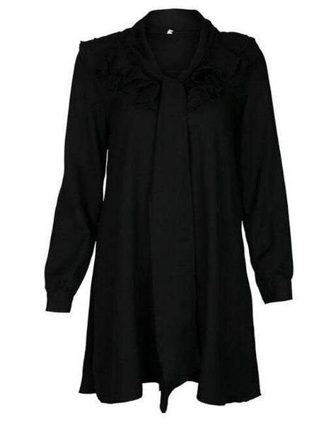 Black V-neck Tie Front Ruffle Trim Long Sleeve Mini Dress