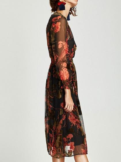 Polychrome Floral Long Sleeve Midi Dress