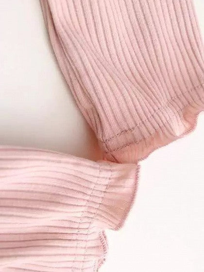 Pink Off Shoulder Long Sleeve Ribbed Crop Top
