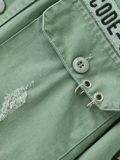 Green Pocket Letter Patch Circle Detail Jacket