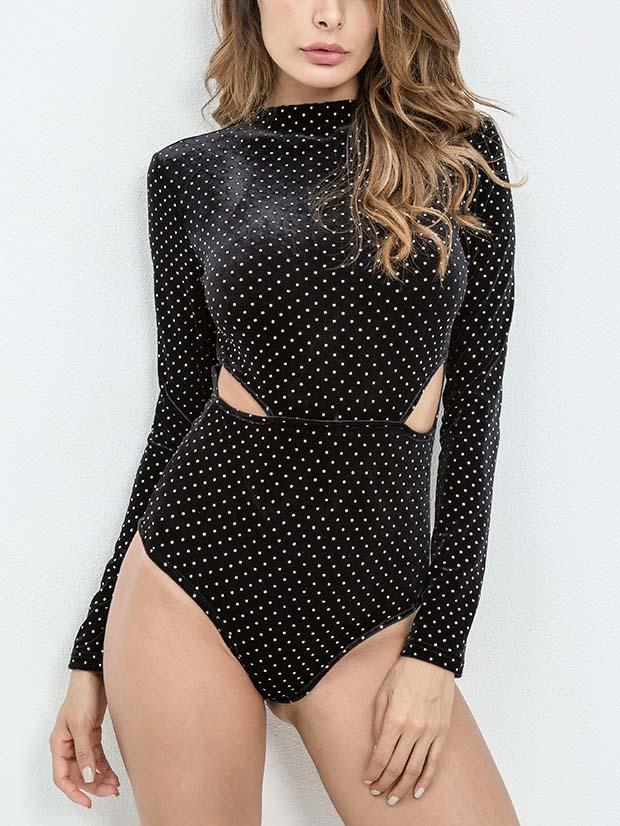 Black Velvet Cut Out Detail Polka Dot Long Sleeve Bodysuit – chiclookcloset 133d3e6cf