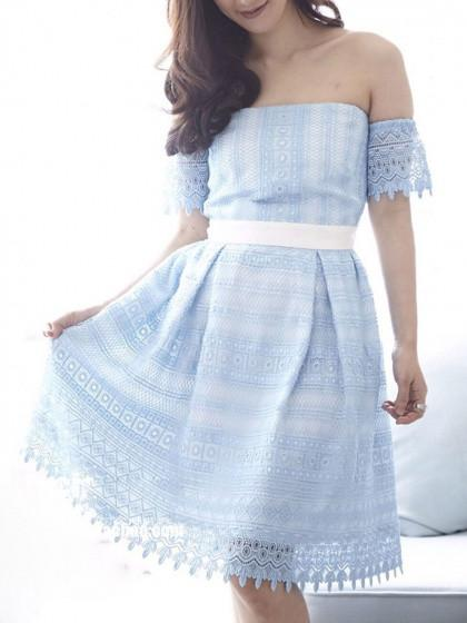 Blue Off Shoulder Tucked Skirt Lace A-line Dress