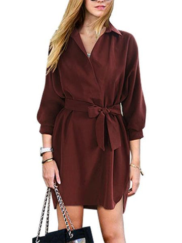 Burgundy Tie Waist 3/4 Sleeve Dipped Hem Shirt Dress