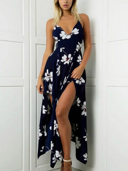 Navy V-neck Floral Strap Backless Asymmetric Maxi Beach Dress