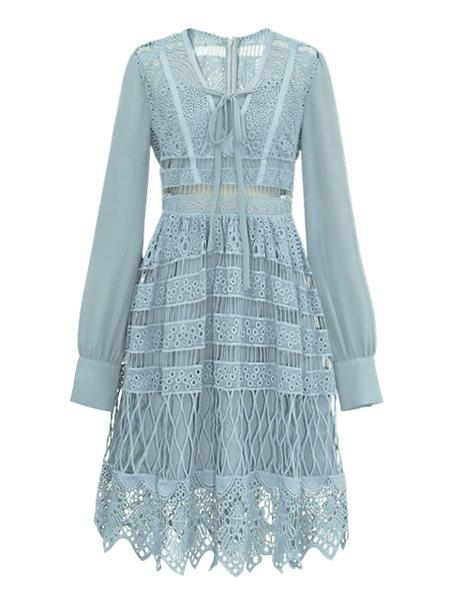 Blue Tie Front Embroidery Cut Out Lace Panel Long Sleeve Dress