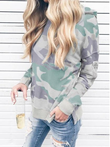 Multicolor Cotton Camouflage Print Split Side Long Sleeve Hoodie
