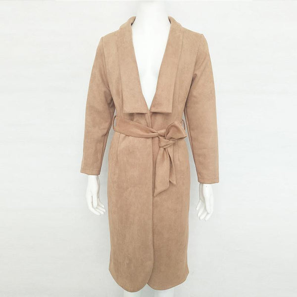 Brown Faux Suede Lapel Tie Waist Long Sleeve Trench Coat
