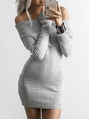 Gray Foldover Off Shoulder Long Sleeve Knitted Dress