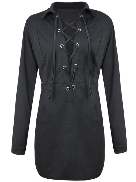 Black Plunge Lace Up Front Long Sleeve Shirt Dress