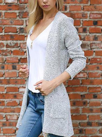 Gray Long Sleeve Fall Knit Cardigan